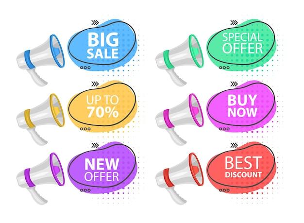 Megáfono oferta especial bocadillo de diálogo altavoz oferta especial promoción de banner y publicidad