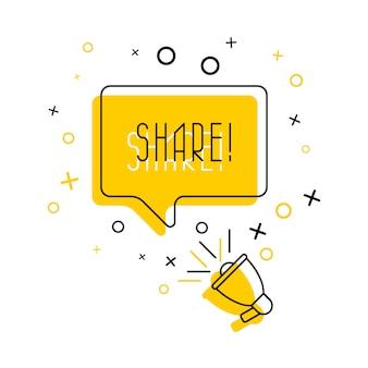 Megáfono y palabra 'compartir' en bocadillo en amarillo