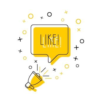 Megáfono y palabra 'me gusta' en el bocadillo en amarillo. ilustración de línea delgada plana