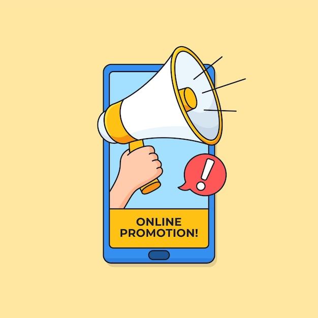 Megáfono en la pantalla del teléfono inteligente para el diseño de banner de campaña de promoción en línea de póster de redes sociales