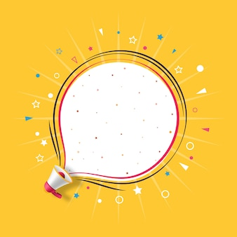 Megáfono con plantilla de discurso de burbuja amarilla