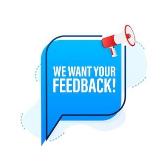 Megáfono con queremos sus comentarios. banner de megáfono. diseño web. ilustración de stock vectorial.