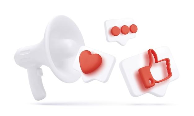 Megáfono realista y 3d volando pulgar hacia arriba, corazón y chat iconos aislados sobre fondo blanco. ilustración vectorial