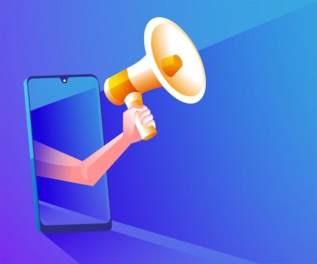 Megáfono realista con ilustración de símbolo de teléfono inteligente