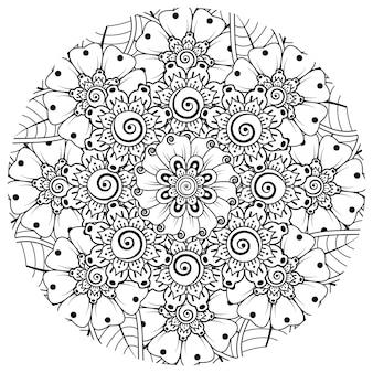Mehndi flor adorno decorativo en estilo étnico oriental doodle ornamento contorno dibujar a mano