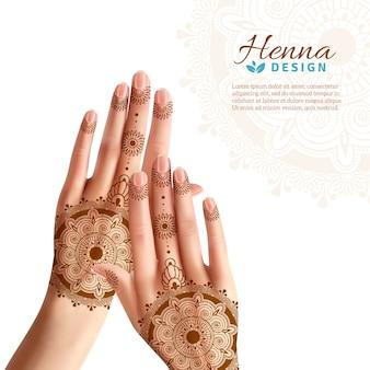 Mehndi henna woman hads diseño realista