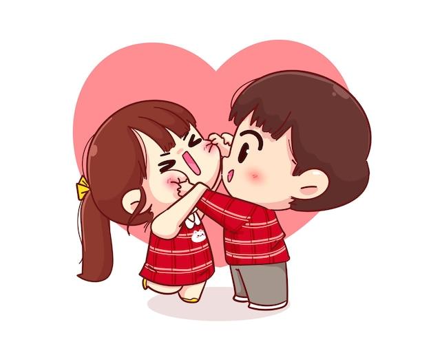 Mejilla de chico lindo pellizcando a su novia, feliz san valentín, ilustración de personaje de dibujos animados