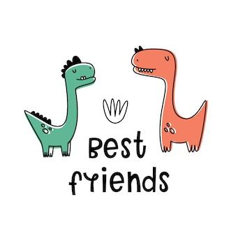 Mejor amiga. ilustración vectorial con dinosaurios. estilo de dibujos animados, plana