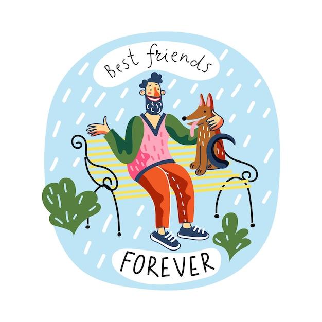 Mejor amigo para siempre sonriente joven abraza a perro sentado en un banco del parque