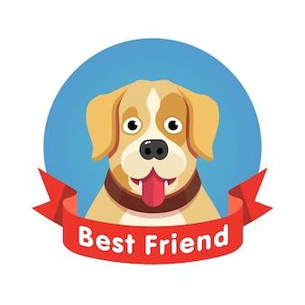 Mejor amigo símbolo. perro mascota cara con cinta roja