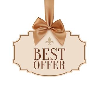 Mejor banner de oferta con cinta dorada y un lazo. fondo clásico y vintage. ilustración