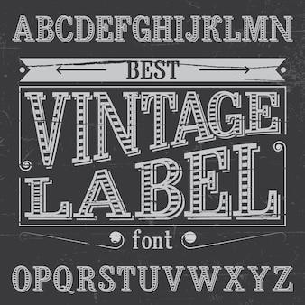 El mejor cartel de fuente de etiqueta vintage en la ilustración de ruido polvoriento