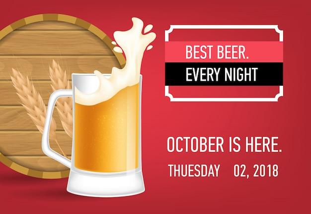 La mejor cerveza cada noche diseño de banner con cerveza de trigo.