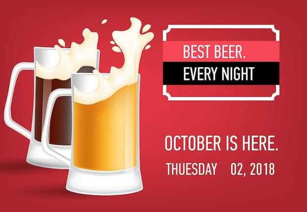 Mejor cerveza cada noche diseño de banner