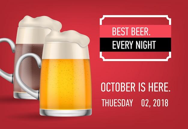 La mejor cerveza, octubre aquí diseño de banner
