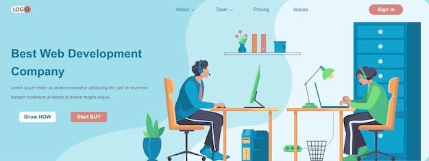 Mejor concepto de banner de empresa de desarrollo web