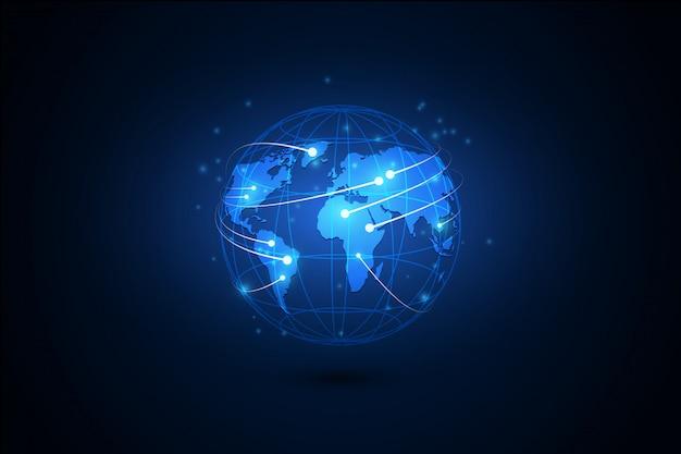 El mejor concepto de internet de los negocios globales. globo, líneas brillantes sobre fondo tecnológico.