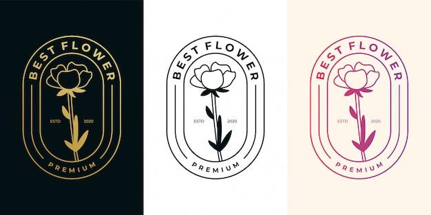 Mejor conjunto de diseño de logotipo de oro vintage de flor rosa