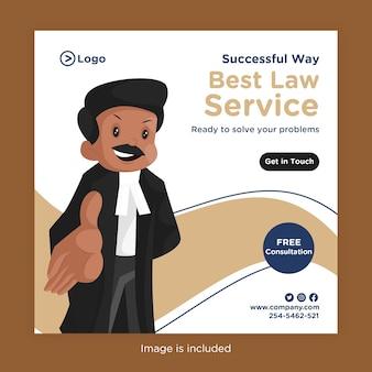 El mejor diseño de banner de servicio legal para redes sociales con un abogado que muestra su mano para unir sus manos