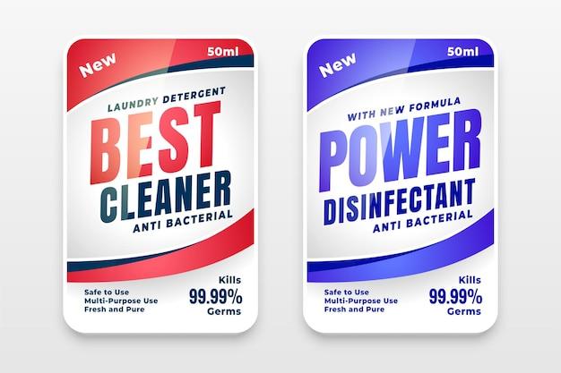 El mejor diseño de etiqueta de detergente potente y limpiador