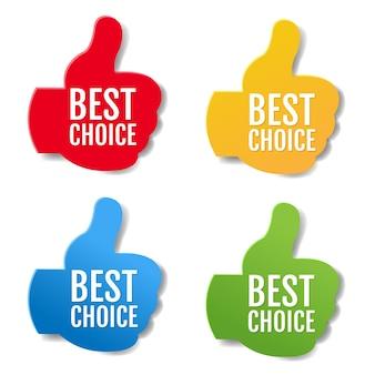 Mejor elección etiquetas gran conjunto aislado sobre fondo blanco