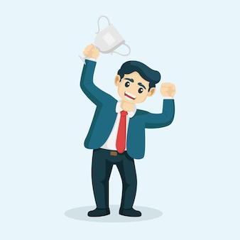 Mejor empleado del mes de pie sosteniendo el trofeo. vector de empresario trabajador número uno