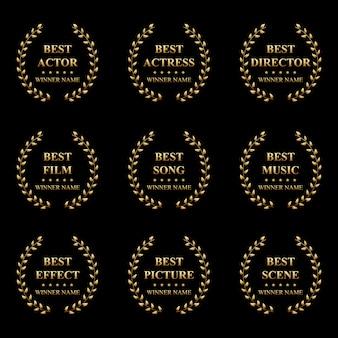 Mejor etiqueta de premio con corona de laurel dorado.