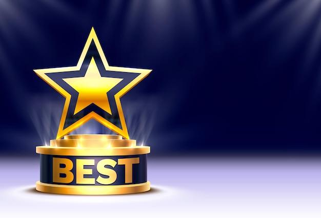 Mejor ganador de la copa estrella dorada, escena del podio del escenario con la ceremonia de premiación en el fondo nocturno