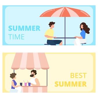 Mejor hora de verano conjunto de banners horizontales. visitantes sentados en el café al aire libre. hombre y mujer saliendo en restaurante terraza