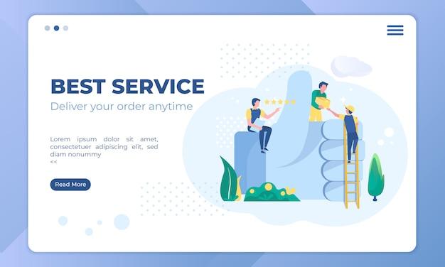 La mejor ilustración de servicio de entrega, negocio de envío en plantilla de página de destino