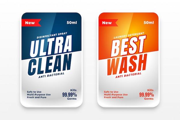 El mejor juego de dos etiquetas de detergente limpio