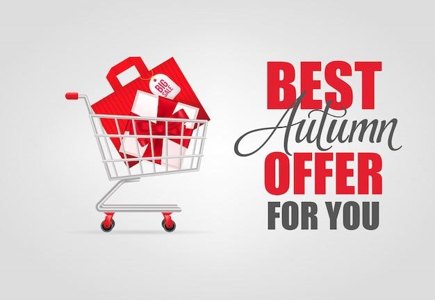 La mejor oferta de otoño para usted letras con carrito de compras