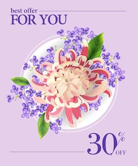 La mejor oferta para ti, treinta por ciento de descuento con flores de colores y círculo blanco