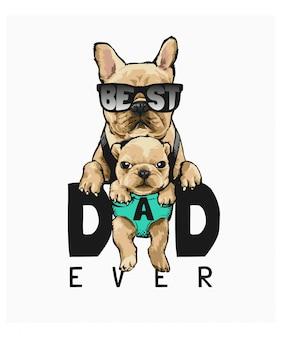 Mejor padre con ilustración de perro padre e hijo