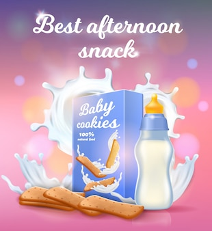 La mejor pancarta de bocadillos de la tarde, leche para bebé y galletas.