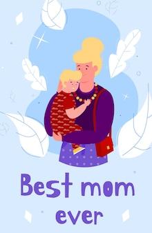 La mejor plantilla de tarjeta de mamá con ilustración de dibujos animados de mujer y niño