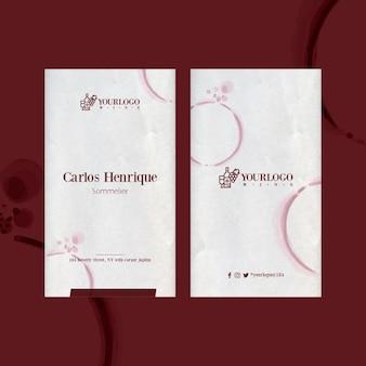 Mejor plantilla de tarjeta de visita vertical de evento de cata de vinos