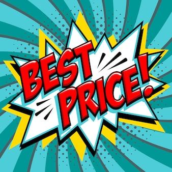 Mejor precio - palabra de estilo cómic sobre un fondo verde azul.