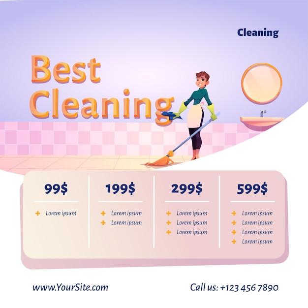 El mejor sitio web de servicio de limpieza con ilustración de dibujos animados de mujer limpiadora con escoba en el baño y tabla de precios