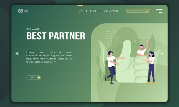 Mejor socio, ilustración de trabajo en equipo en la plantilla de página de destino