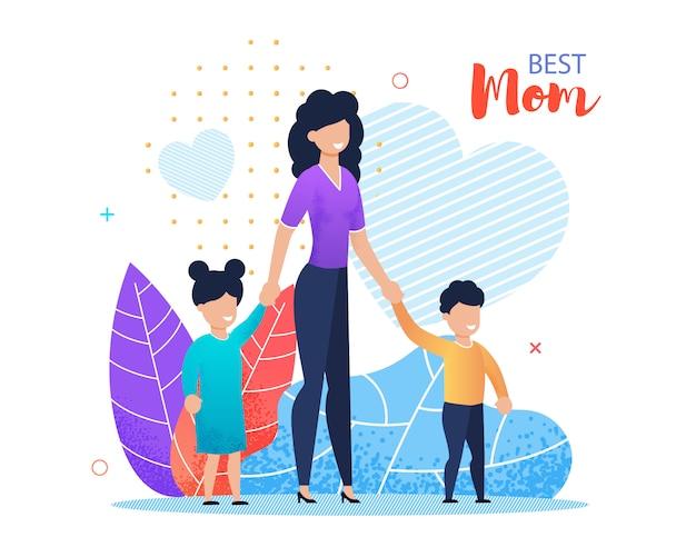 La mejor tarjeta de felicitación plana de la historieta de las letras de la mamá.