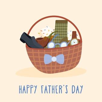 La mejor tarjeta de papá con accesorios en la canasta.