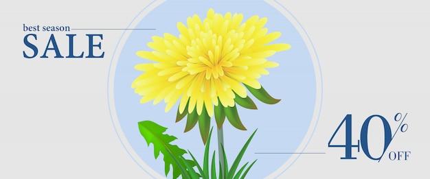 La mejor temporada de venta, cuarenta por ciento de descuento banner con flor amarilla diente de león en marco redondo
