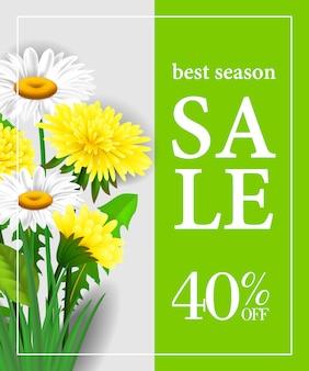 Mejor temporada venta cuarenta por ciento de plantilla de cartel con flores blancas y amarillas