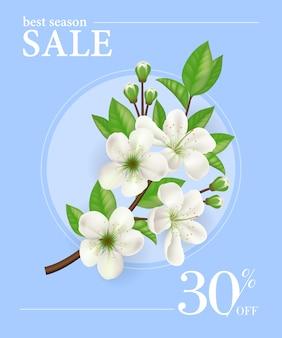 Mejor temporada de venta, treinta por ciento de plantilla de cartel con rama de árbol de manzana en marco redondo