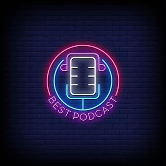 Mejor texto de estilo de letreros de neón con logotipo de podcast