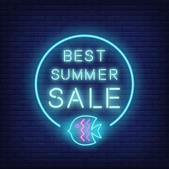Mejor texto de neón de venta de verano y peces en círculo. oferta de temporada o anuncio de venta