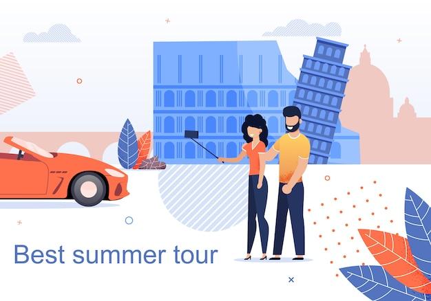 Mejor tour de verano para parejas flat cartoon banner