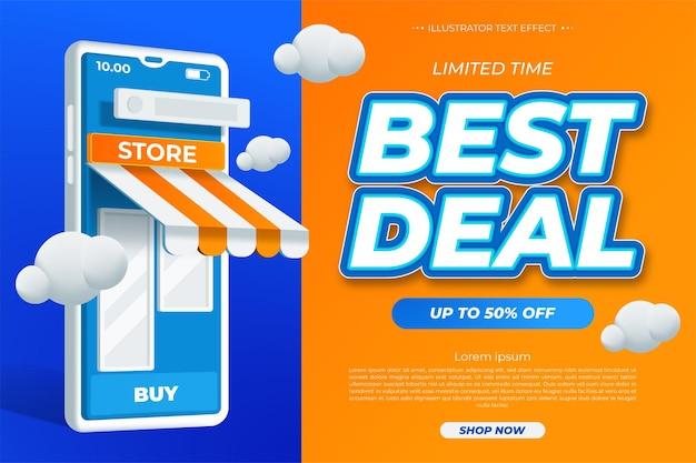 Mejor trato. promoción de plantilla de banner de venta