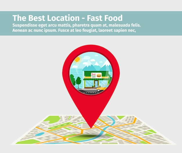 La mejor ubicación de comida rápida.